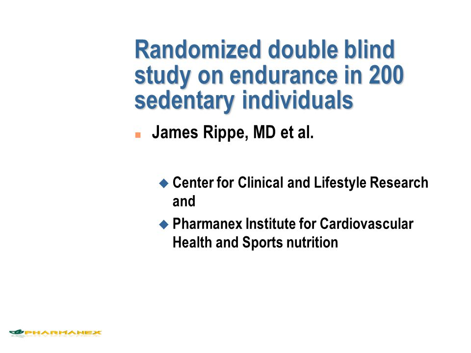Randomized double blind study on endurance in 200 sedentary individuals