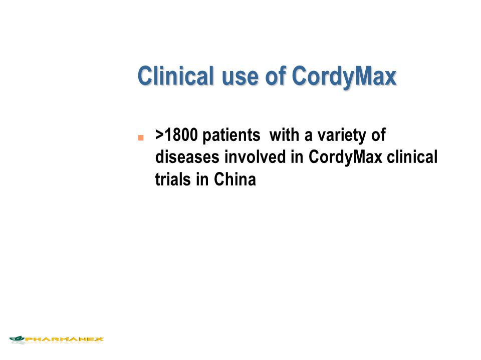 Clinical use of CordyMax