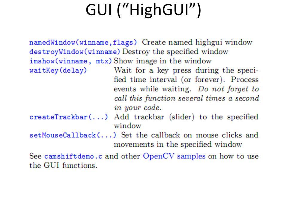 GUI ( HighGUI )