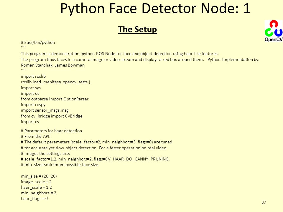 Python Face Detector Node: 1