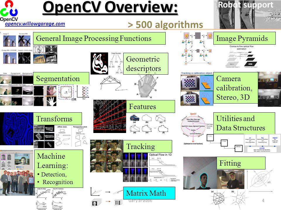 OpenCV Overview: > 500 algorithms Robot support