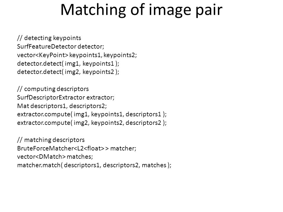Matching of image pair // detecting keypoints