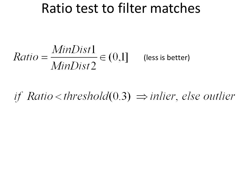 Ratio test to filter matches
