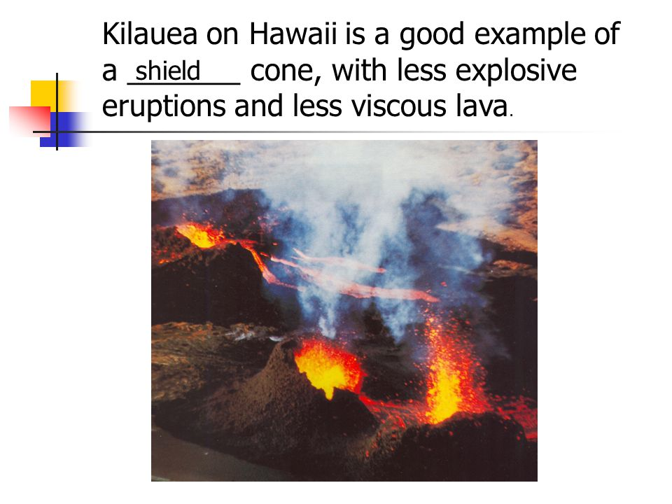 Kilauea on Hawaii is a good example of a _______ cone, with less explosive eruptions and less viscous lava.