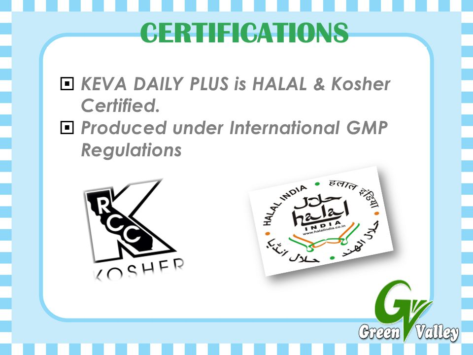 CERTIFICATIONS KEVA DAILY PLUS is HALAL & Kosher Certified.