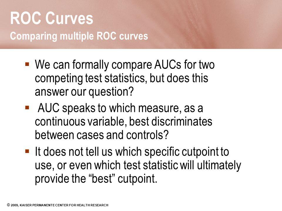 ROC Curves Comparing multiple ROC curves