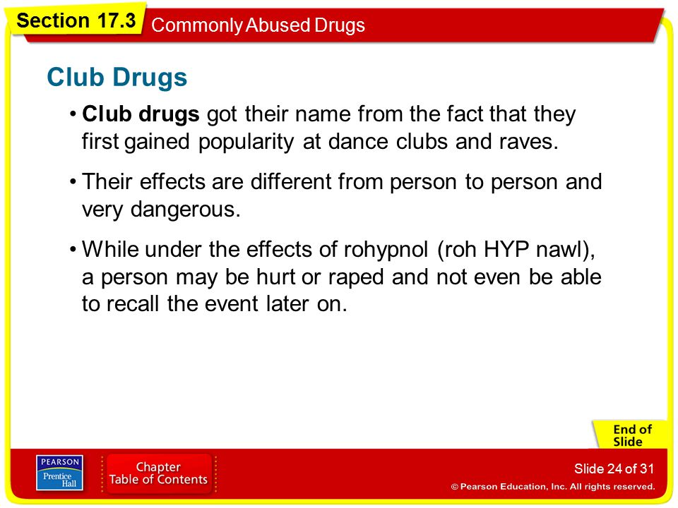 Club Drugs Club drugs got their name from the fact that they first gained popularity at dance clubs and raves.