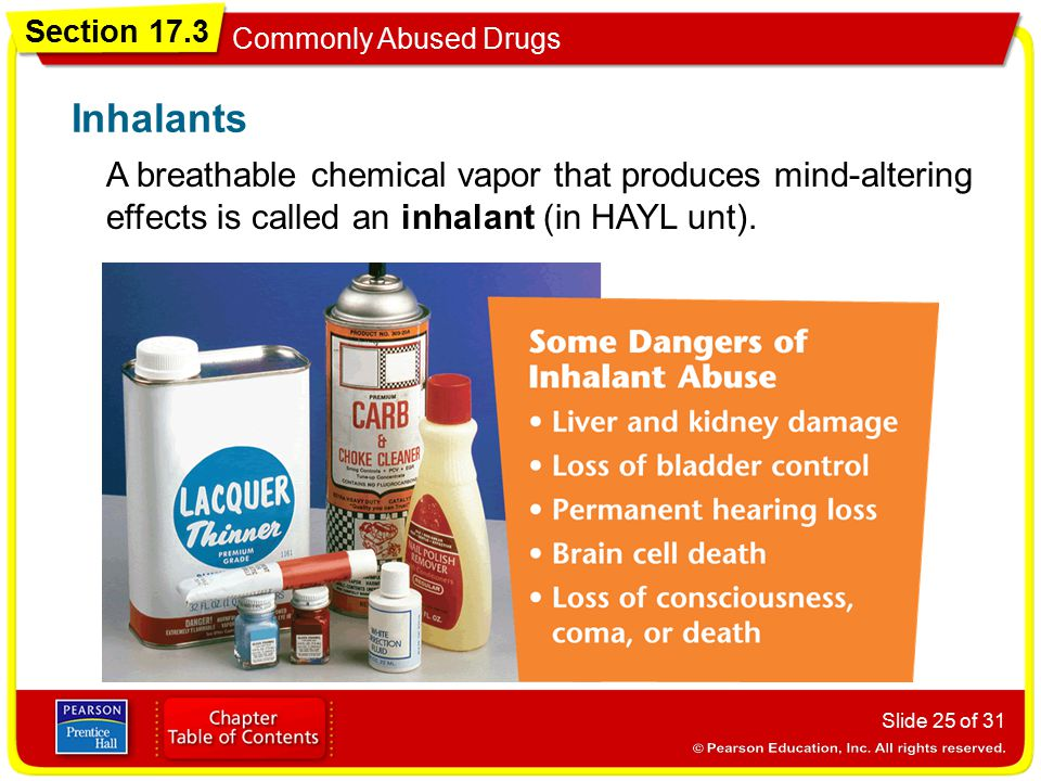 Inhalants A breathable chemical vapor that produces mind-altering effects is called an inhalant (in HAYL unt).