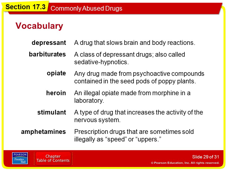 Vocabulary depressant A drug that slows brain and body reactions.