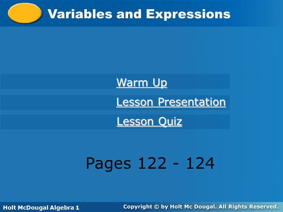 Pages 122 - 124 Variables and Expressions Warm Up Lesson Presentation