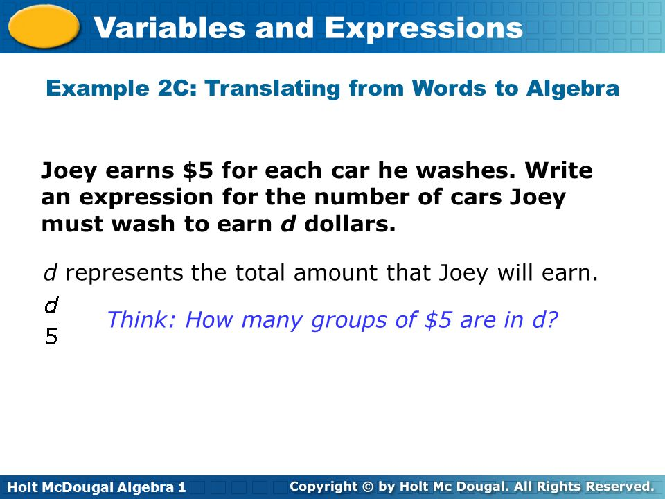 Example 2C: Translating from Words to Algebra