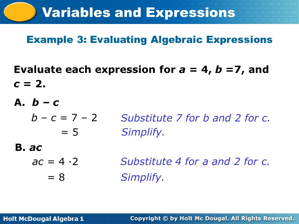 Example 3: Evaluating Algebraic Expressions
