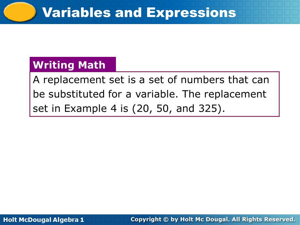A replacement set is a set of numbers that can