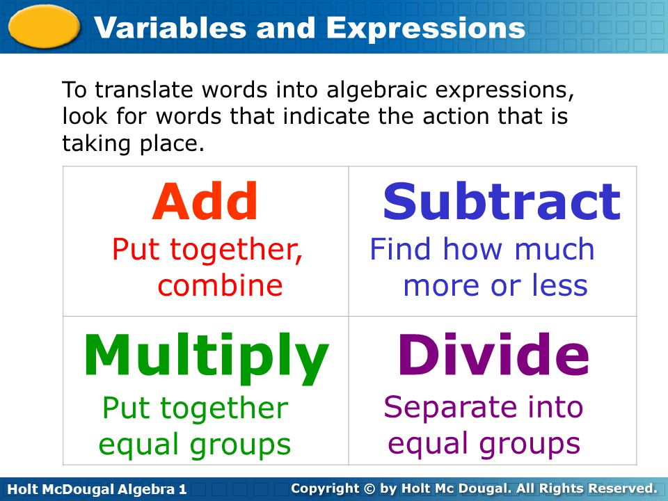 Multiply Divide Add Subtract Put together, combine