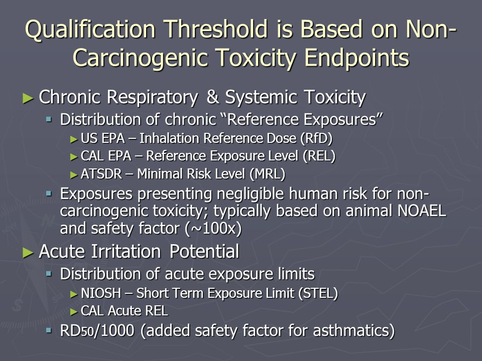 Qualification Threshold is Based on Non-Carcinogenic Toxicity Endpoints