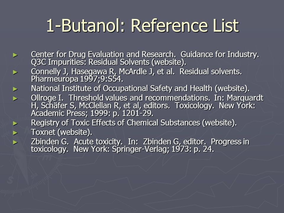 1-Butanol: Reference List