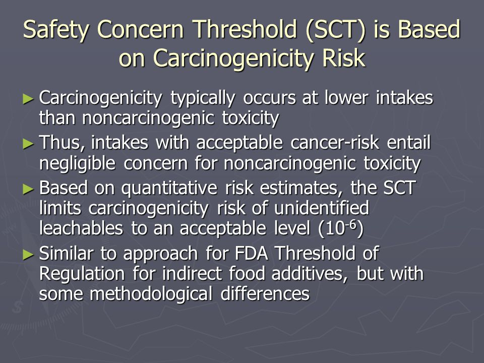 Safety Concern Threshold (SCT) is Based on Carcinogenicity Risk