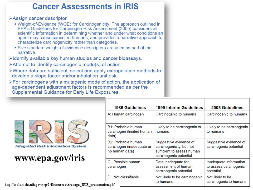 www.epa.gov/iris http://tools.niehs.nih.gov/srp/1/Resources/Arzuaga_IRIS_presentation.pdf
