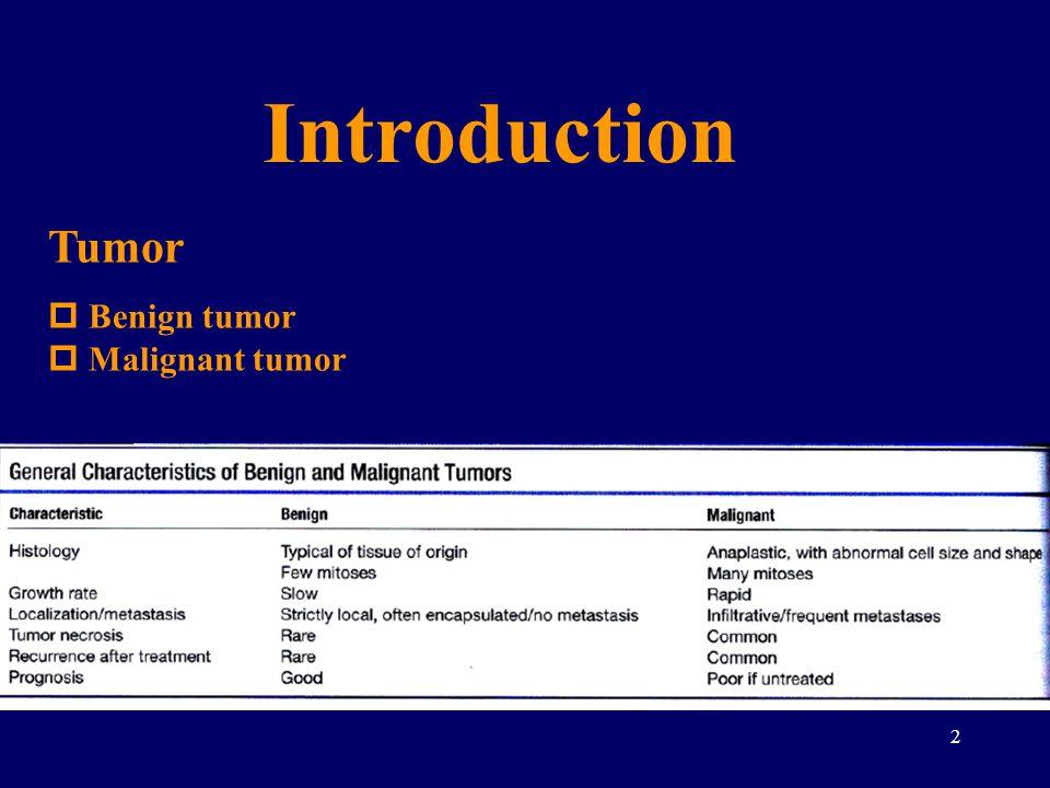 Introduction Tumor Benign tumor Malignant tumor