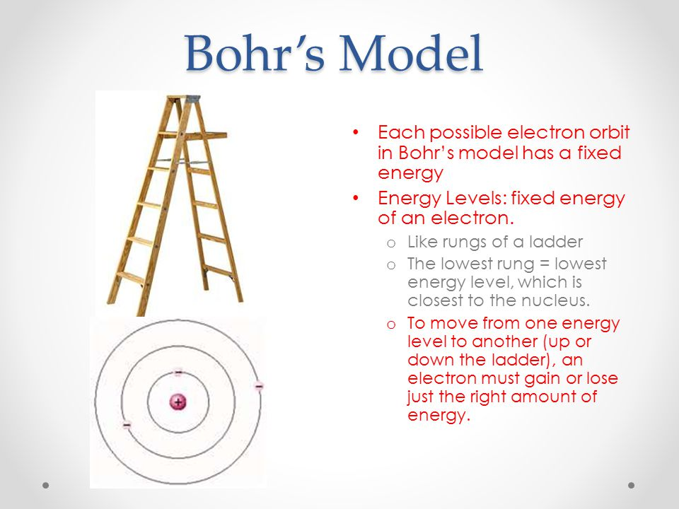 Bohr's Model Each possible electron orbit in Bohr's model has a fixed energy. Energy Levels: fixed energy of an electron.