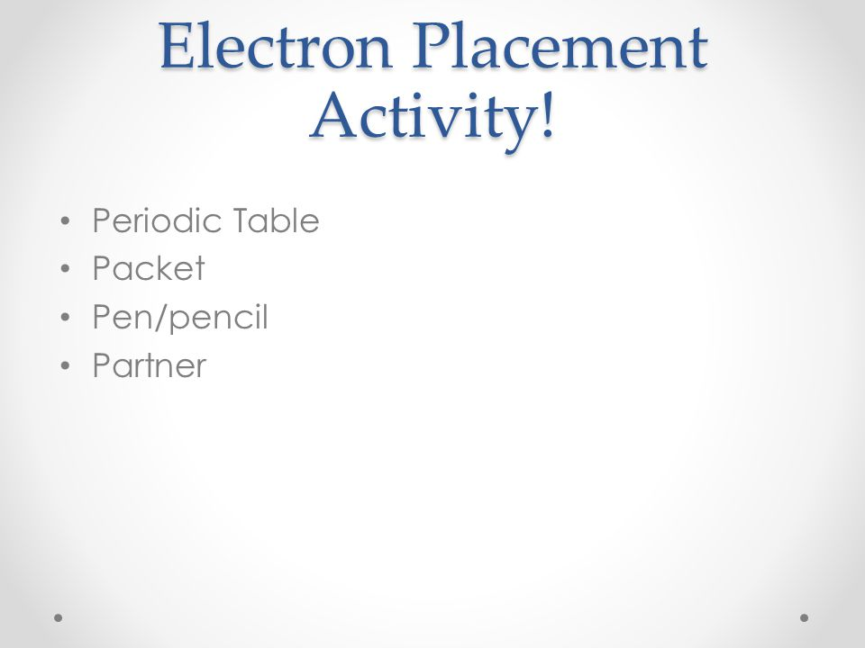 Electron Placement Activity!