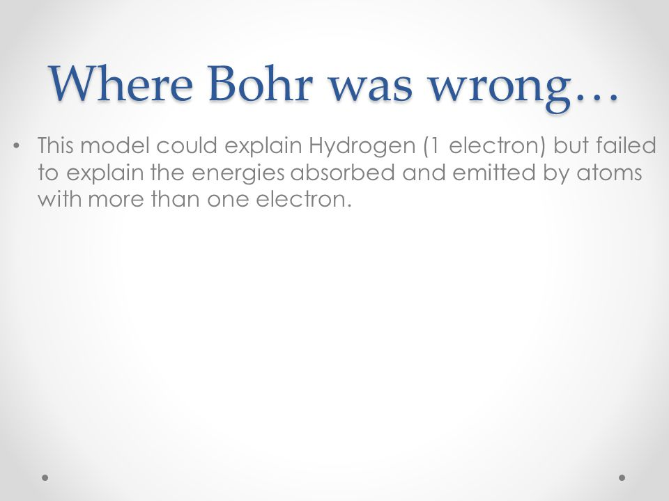Where Bohr was wrong…