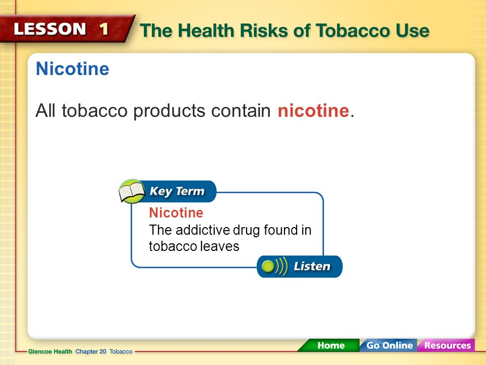 All tobacco products contain nicotine.