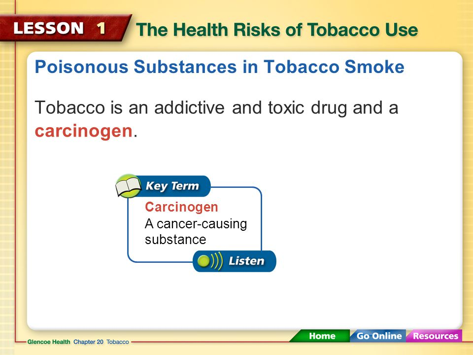 Poisonous Substances in Tobacco Smoke
