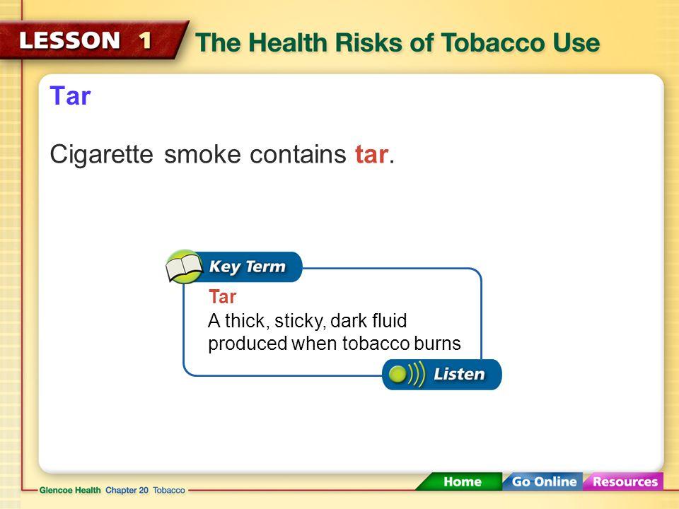 Cigarette smoke contains tar.