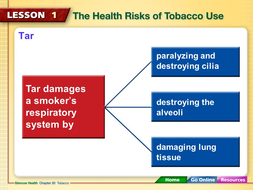 Tar damages a smoker's respiratory system by