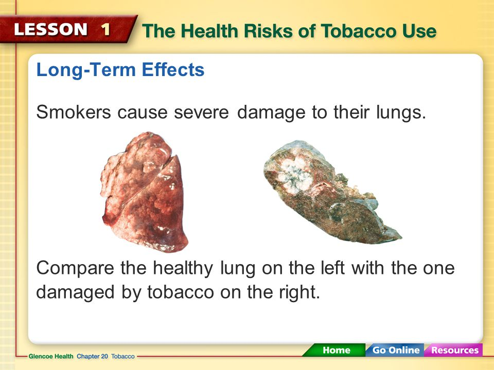 Long-Term Effects Smokers cause severe damage to their lungs.