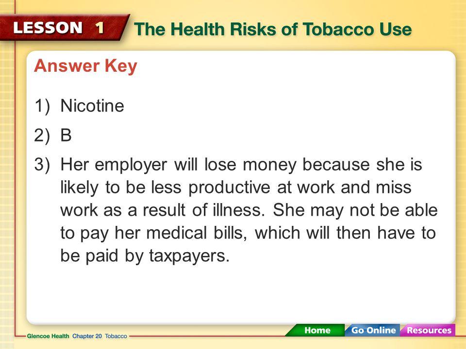Answer Key Nicotine. B.