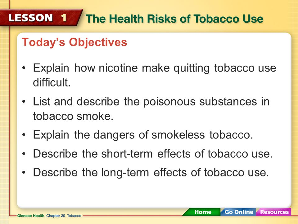 Today's Objectives Explain how nicotine make quitting tobacco use difficult. List and describe the poisonous substances in tobacco smoke.