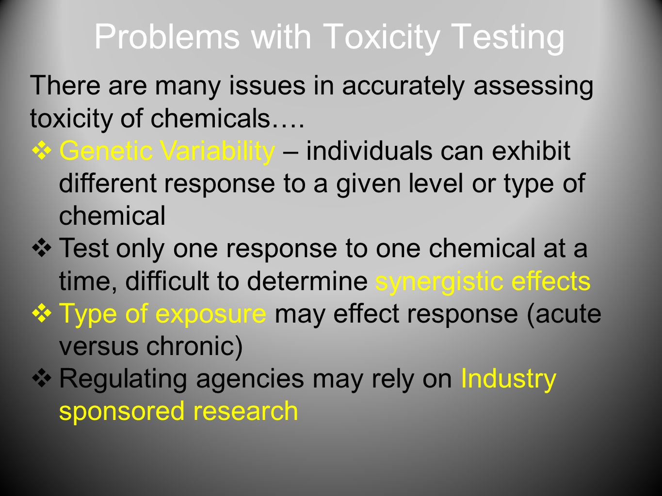 Problems with Toxicity Testing