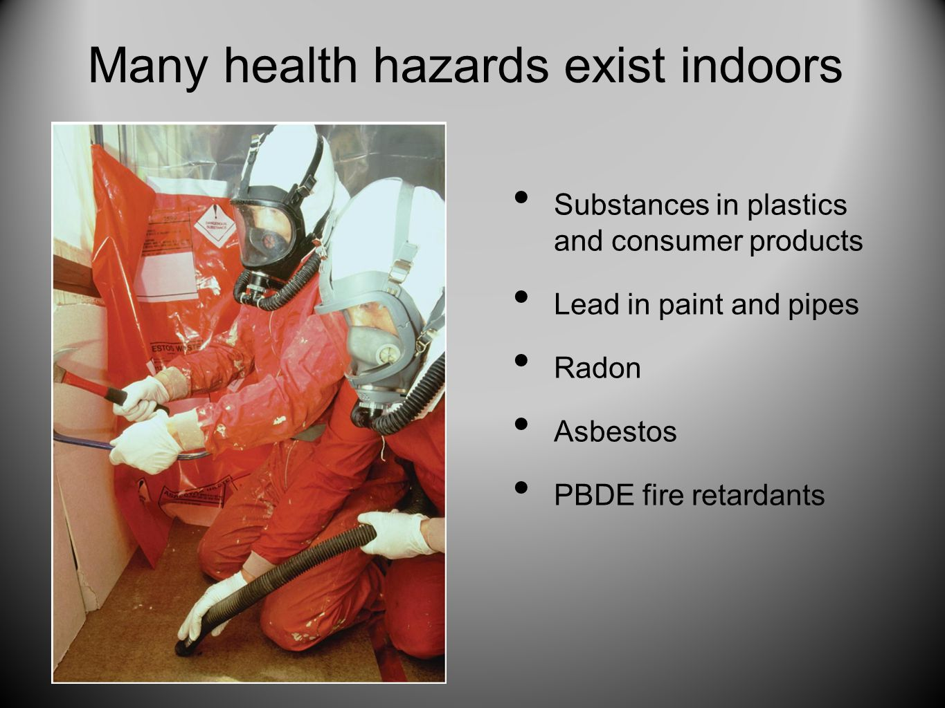 Many health hazards exist indoors