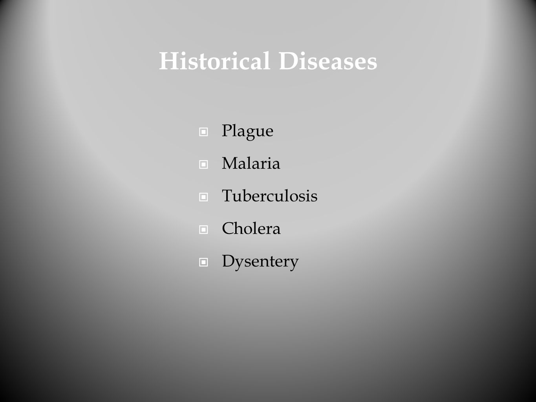 Historical Diseases Plague Malaria Tuberculosis Cholera Dysentery