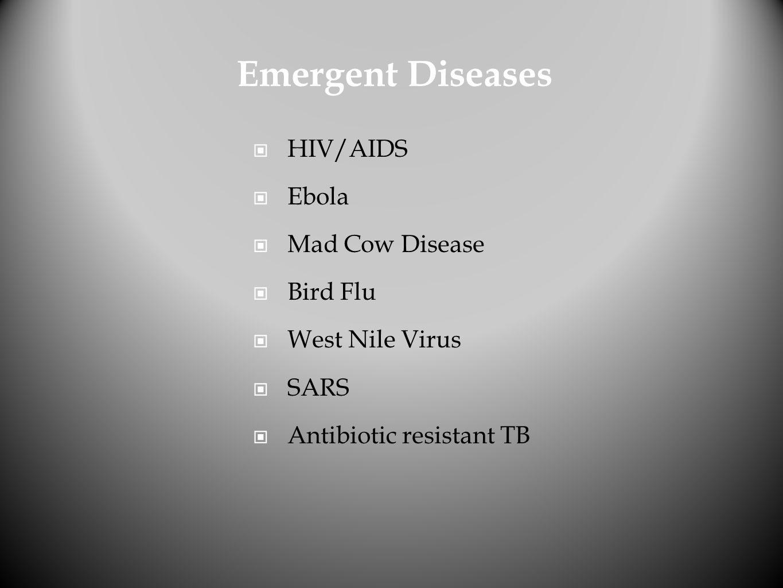 Emergent Diseases HIV/AIDS Ebola Mad Cow Disease Bird Flu
