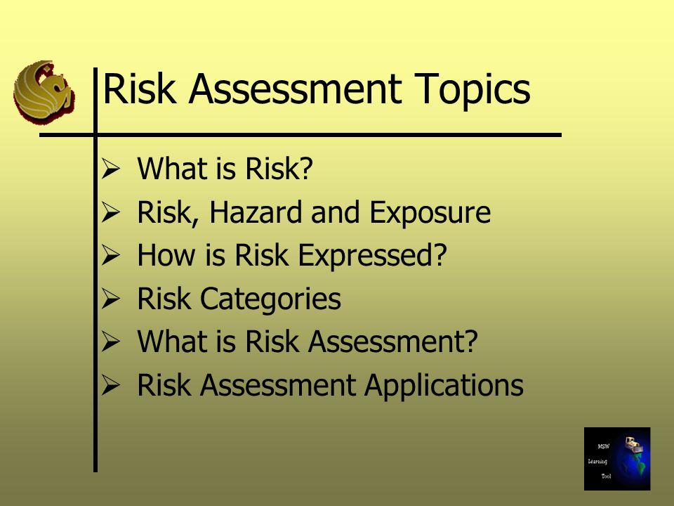 Risk Assessment Topics