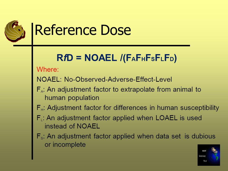 Reference Dose RfD = NOAEL /(FAFHFSFLFD) Where: