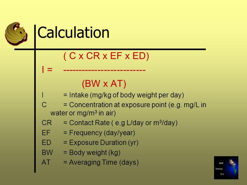Calculation ( C x CR x EF x ED) I = --------------------------