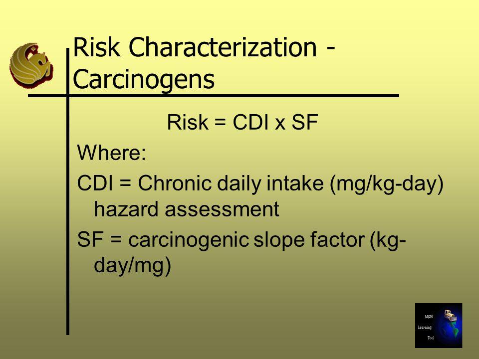 Risk Characterization - Carcinogens