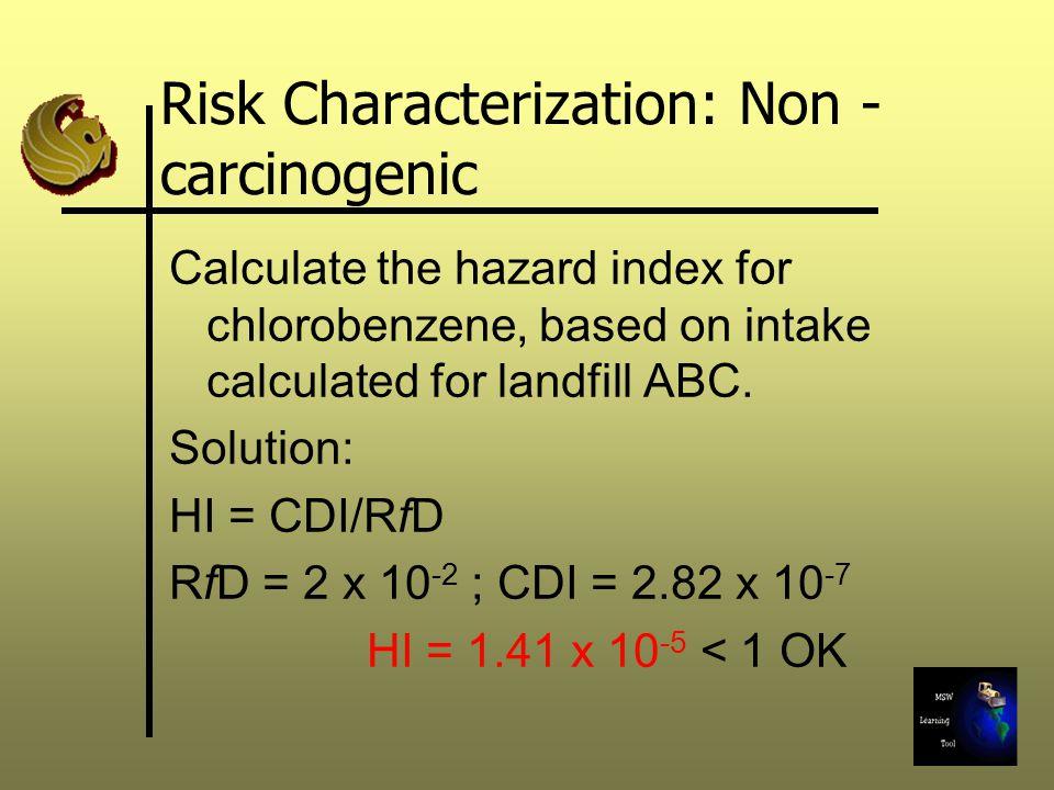 Risk Characterization: Non -carcinogenic
