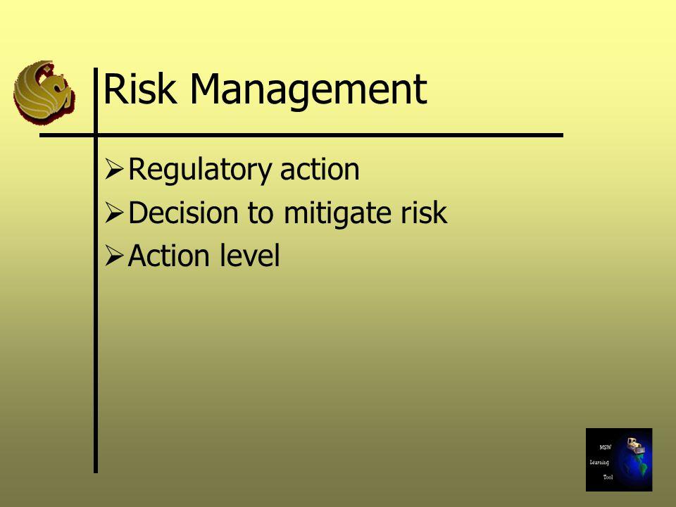 Risk Management Regulatory action Decision to mitigate risk
