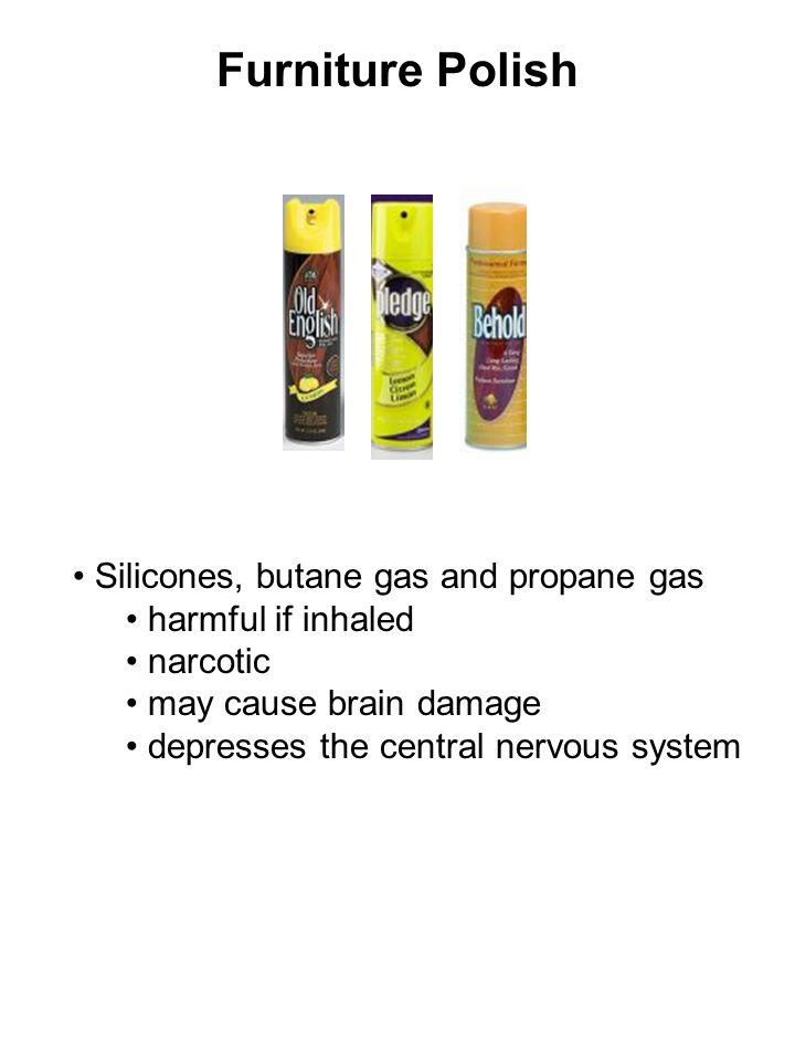Furniture Polish Silicones, butane gas and propane gas