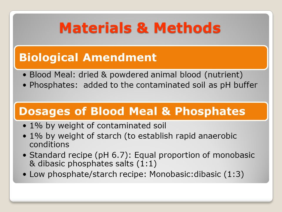 Materials & Methods Dosages of Blood Meal & Phosphates