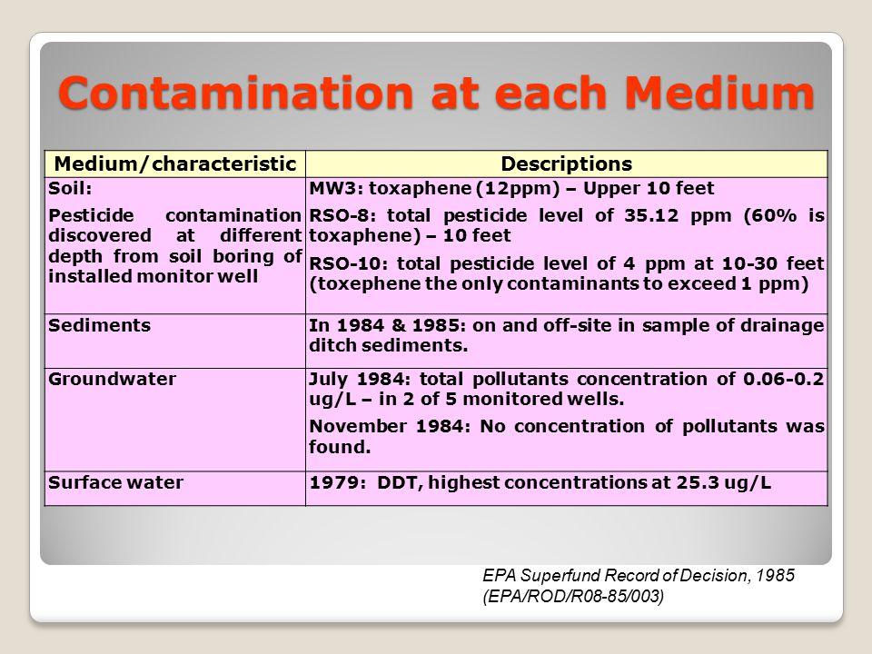 Contamination at each Medium