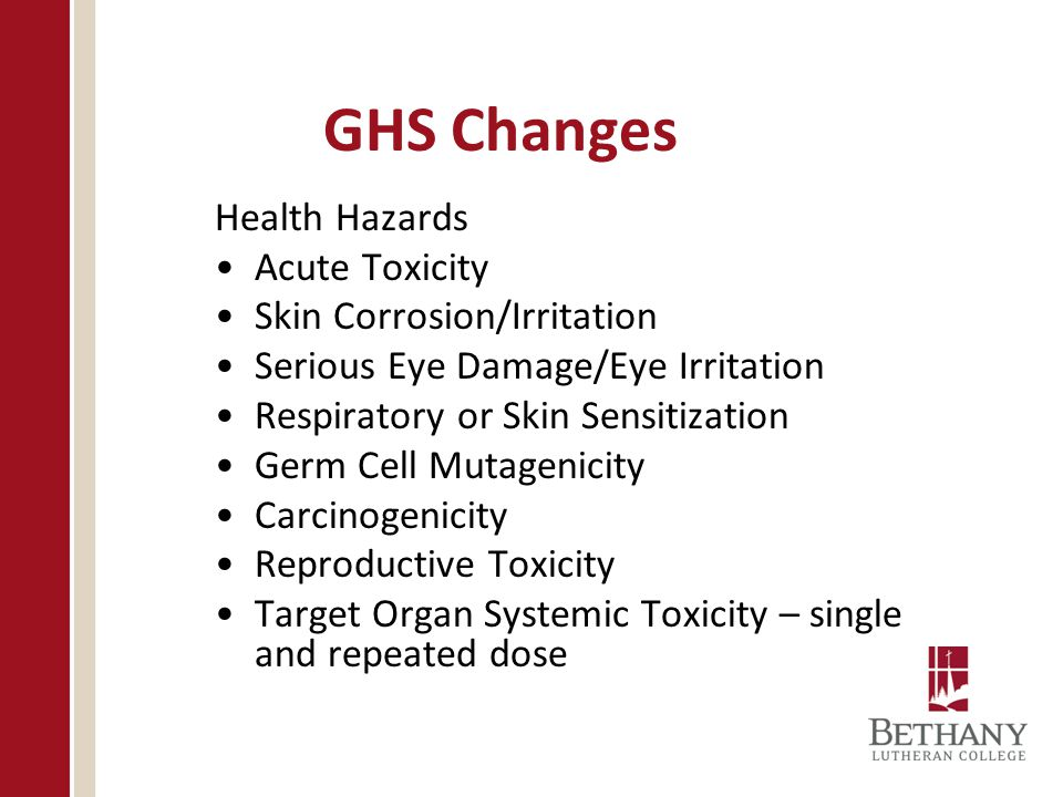 GHS Changes Health Hazards Acute Toxicity Skin Corrosion/Irritation