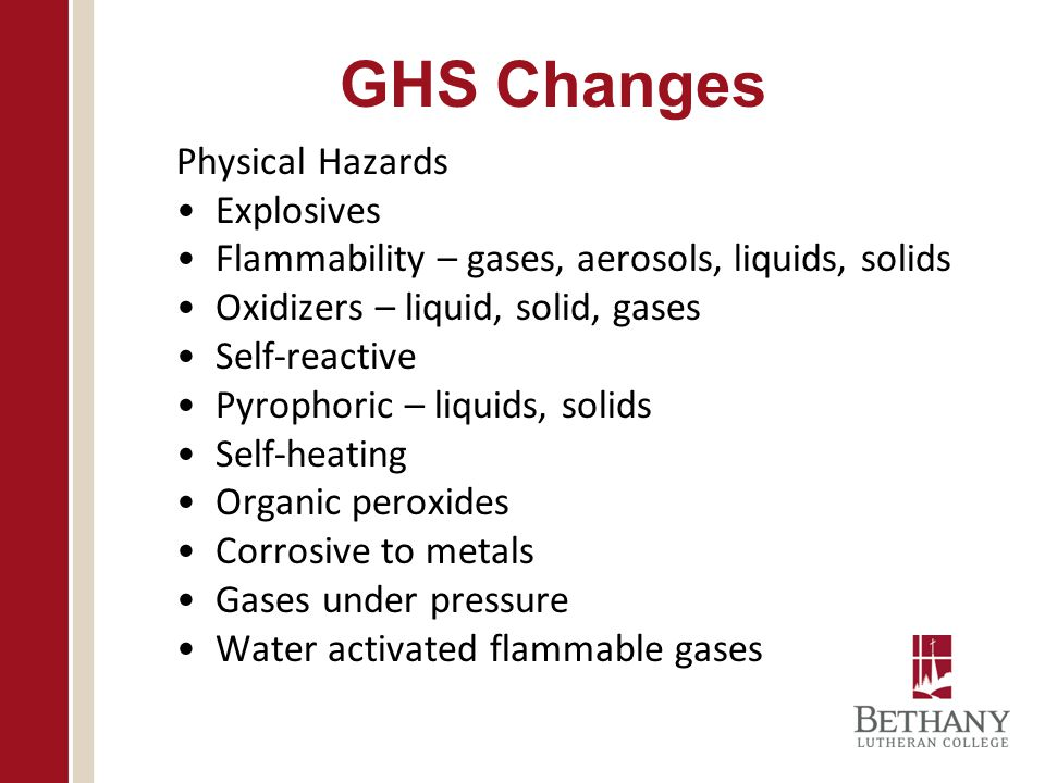 GHS Changes Physical Hazards Explosives