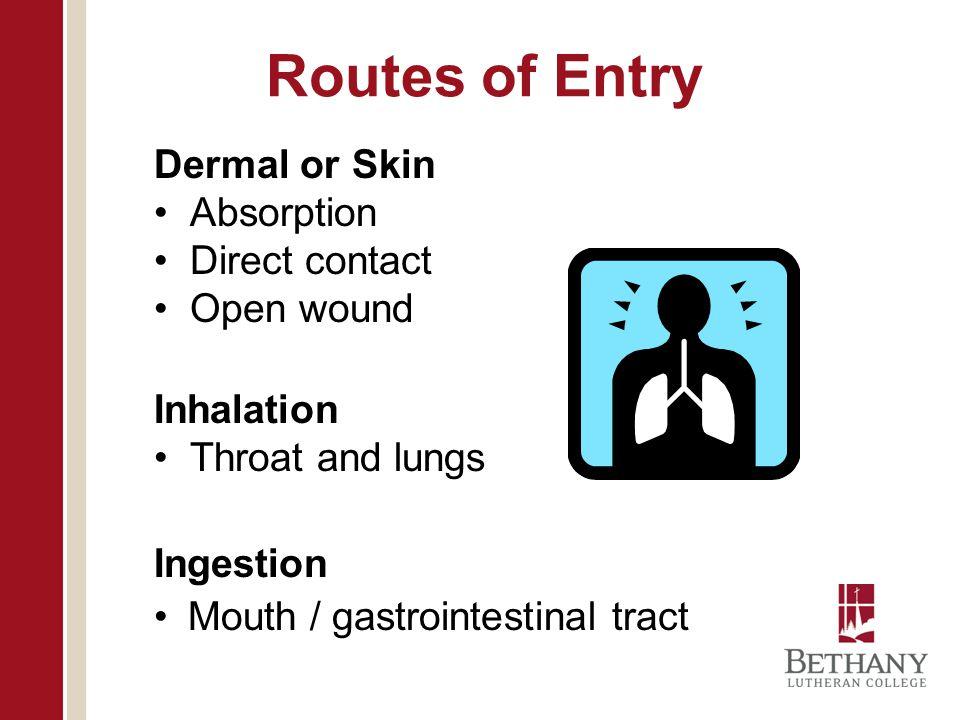 Routes of Entry Dermal or Skin Absorption Direct contact Open wound
