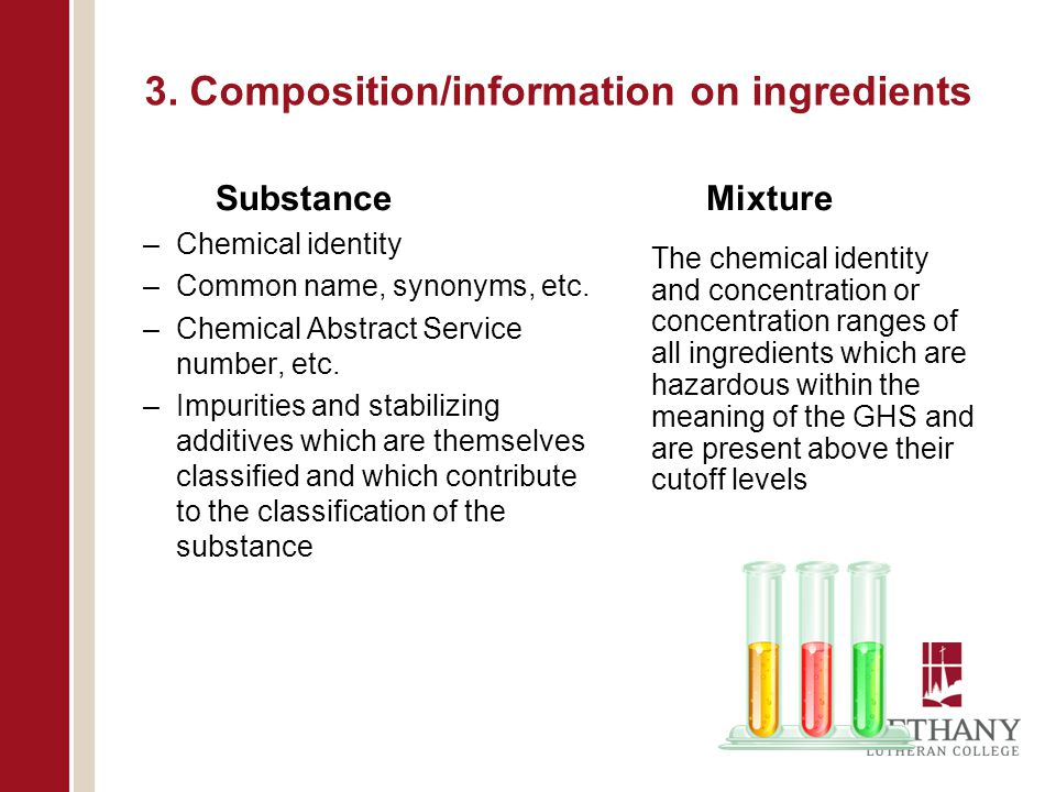 3. Composition/information on ingredients